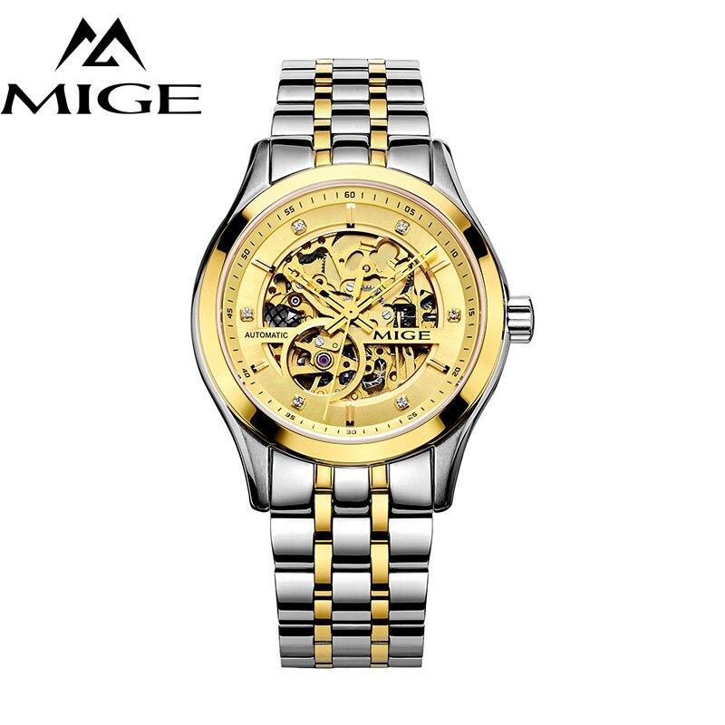MIGE montres hommes tourmilliards creux mécanique montre-bracelet synthétique saphir cristal acier inoxydable Bracelets Relogio Feminino