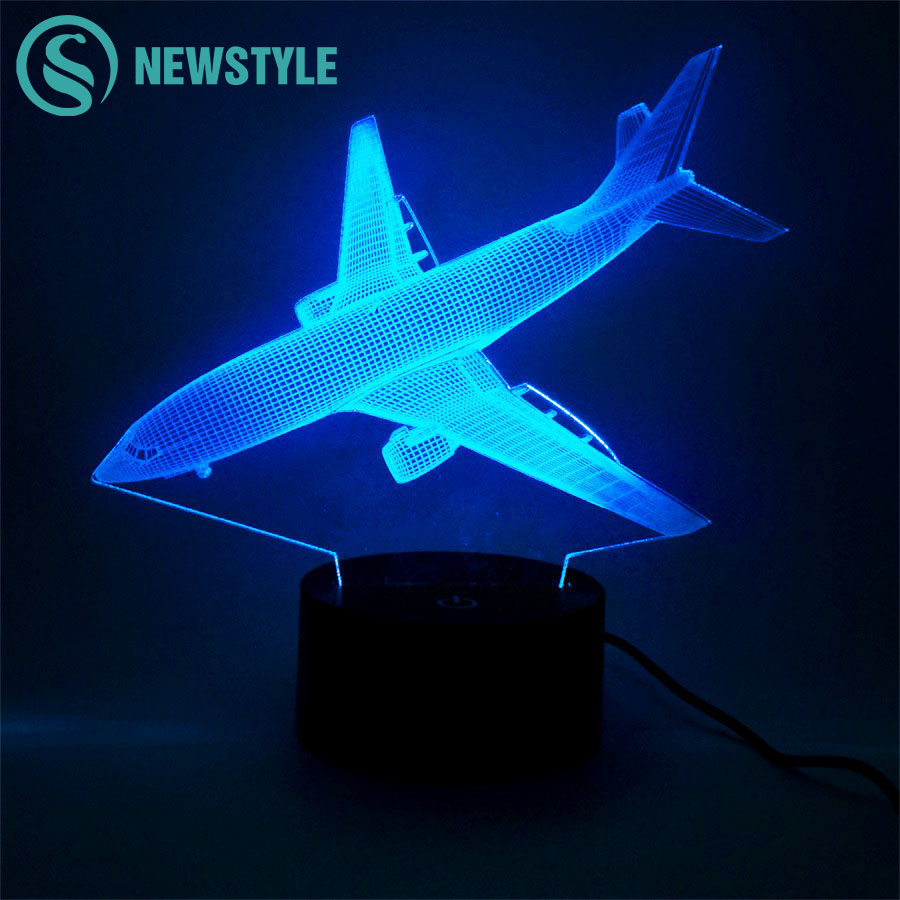 3D Air Plane LED Night Light LED Plane Shape 3D Table Lamp Touch Switch Night Lamp Novelty Light for Children Kids Gift