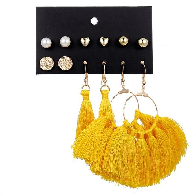 CUTEECO New Fashion Geometric Hoop Earrings For Women Vintage Rhombus Tassel Big Earrings Set 2019 Female Bohemian Jewelry
