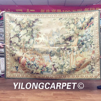 Yilong 4.4'x6.2' New Gobelin Picture Wall Hanging Tapestry French Design Hand Woven Aubusson Tapestry (w40C 4.4x6.2)