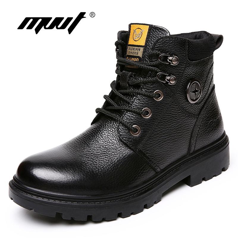 MVVT Genuine Leather Boots Men Winter Boots Waterproof Work Safety Snow Books For Men Military Boots