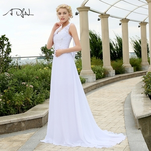 Image 3 - ADLN Cheap Beach Wedding Dresses with Appliques V neck Chiffon Dresses For Wedding White/Ivory Plus Size Bridal Gowns