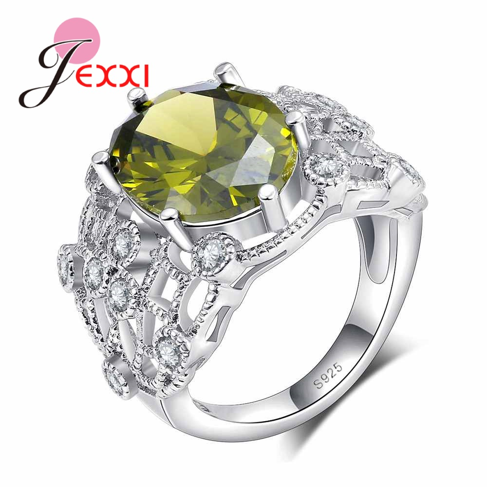 JEXXI S925 Stamp Sterling Silver Women Lady Wedding Engagement Rings Sparkly Zircon Round Green Clear Crystal Stylish Jewelry