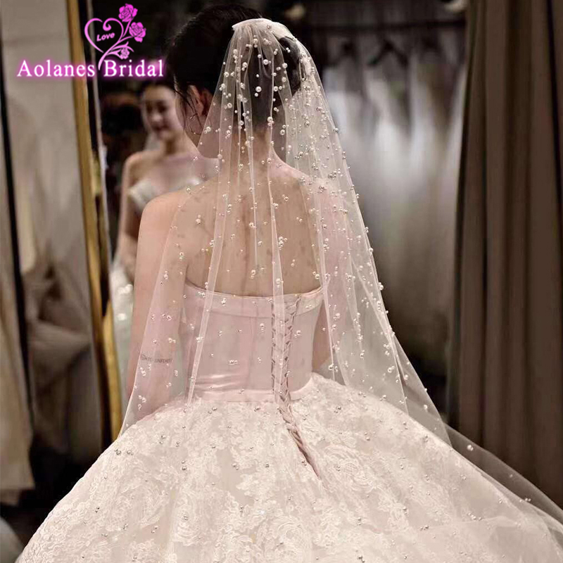 2019 Popular Full Pearls Bridal Veil With/without Comb One/two Layers(leave Message With Combo Or No)bridal Wedding Veils