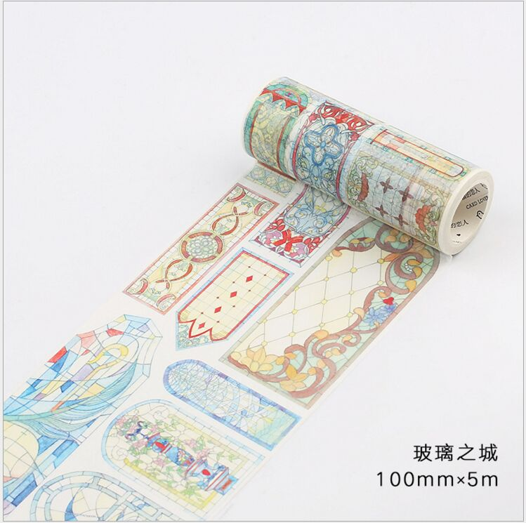 100mm Mysterious City Of Glass Decoration Planner Washi Tape DIY Scrapbooking Diary Album Masking Tape Escolar