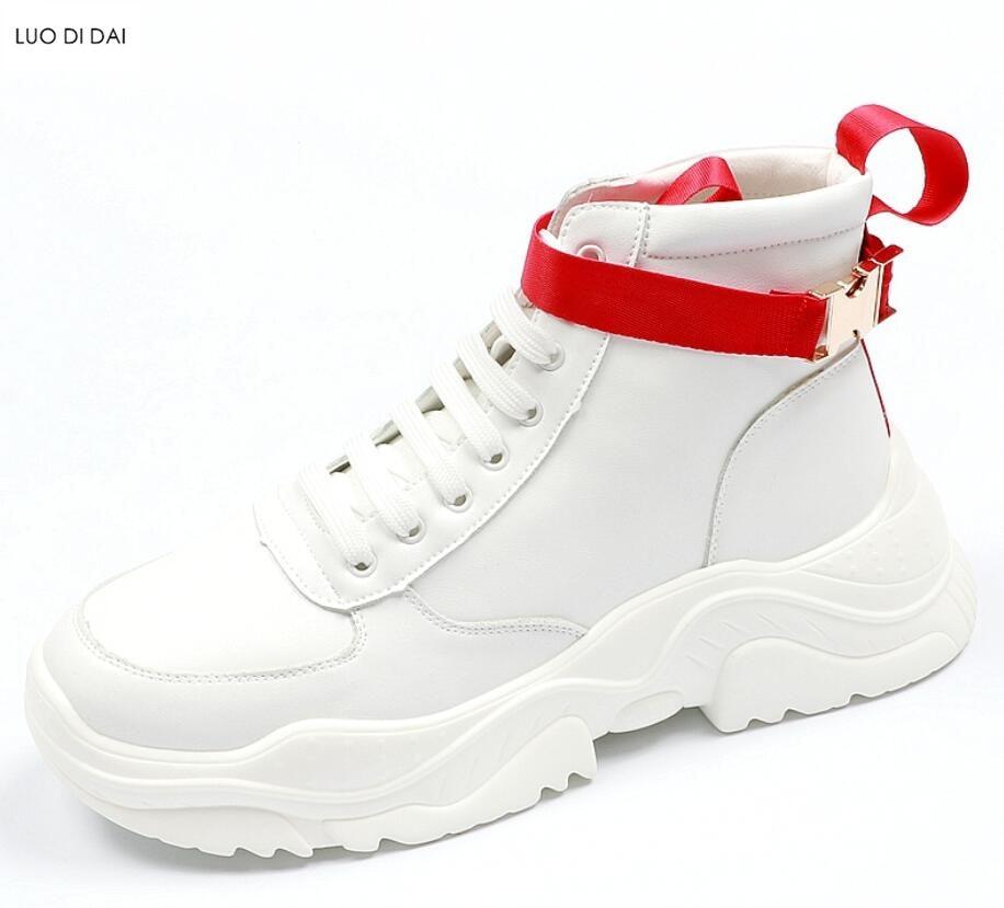2018 Новинка осени мужские кроссовки на платформе повседневная обувь толстый каблук кроссовки Кемпинг ботинки мужские белые Мокасины Высота