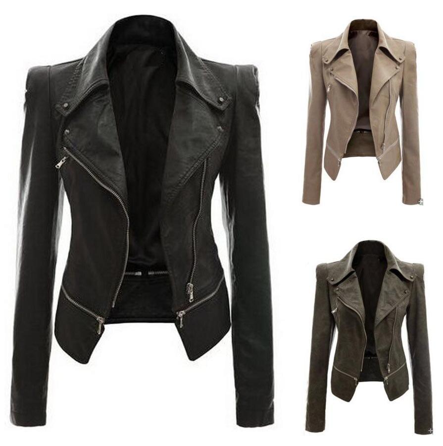 2018 Autumn Women Faux   Leather   Jacket Coat Gothic Black Moto Coat Zippers Long Sleeve Goth PU   Leather   Jackets