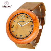 IBigboy Hombres Relojes de Madera de Lujo Padauk Madera 12 Horas Analógico Correa de Cuero Grande de Las Mujeres Del Cuarzo de Japón Reloj de Pulsera relogio masculino