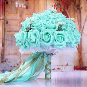 Image 1 - Fashion Cheap Burgundy Wedding Bouquet Pink/Red/White/Burgundy Bridal Bridesmaid Flower Artificial Flower Rose Bouquet Bride