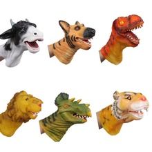 2017 Hot Lovely Baby Soft Vinyl PVC Animal Head Figure Dinosaur Tiger Lion Cow & Dog Hand Puppet Gloves Children Toy Model Gift