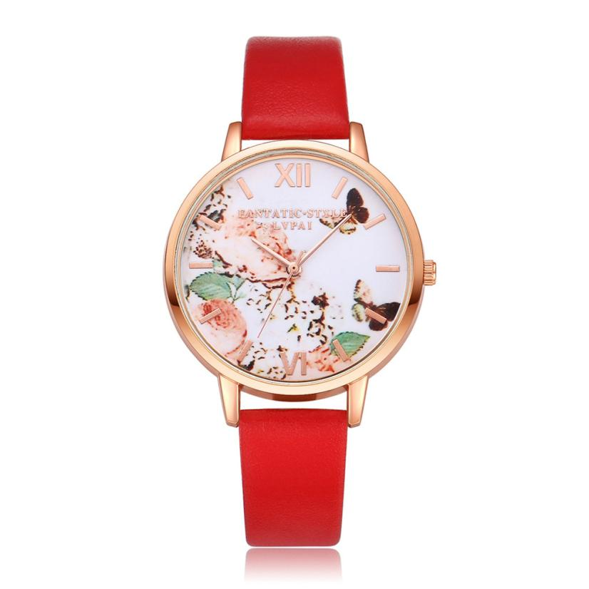 Watches Butterfly Leather Band Women Quartz Wristwatch Clock Ladies Dress Gift Watches Reloj Mujer comtex ladies watch spring casual yellow leather women wristwatch for girl new fashion quartz calendar watches reloj clock gift