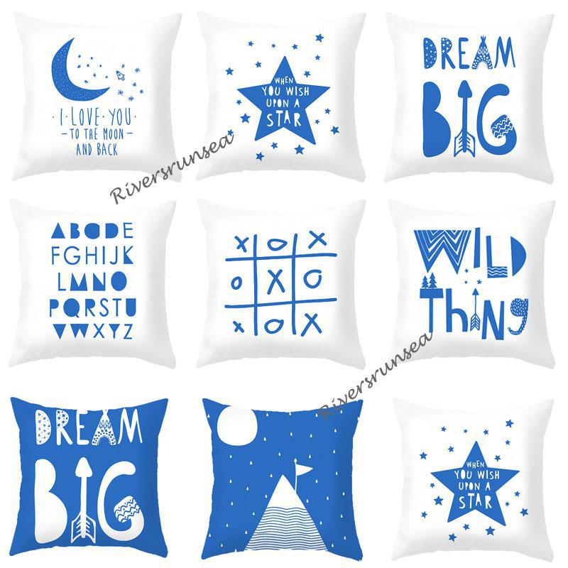 Cute Design Blue Pillow Nordic Style Creative 26 English Letter Cushion Wild Tree Moon Modern Minimalist Decor For Office Chair