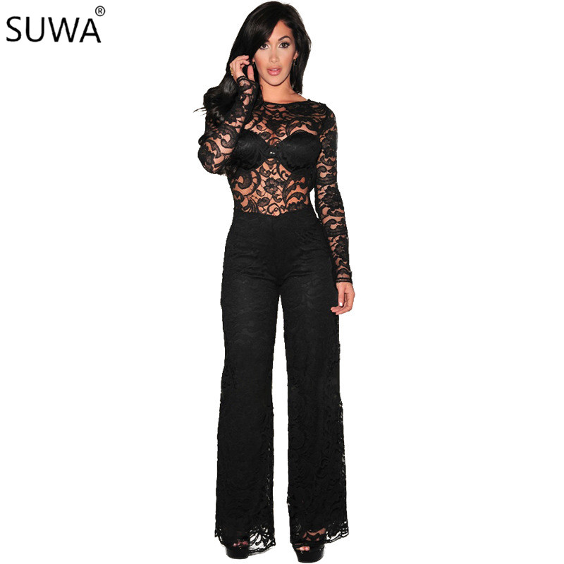 SUWA Brand new design lace jumpsuit women black overalls full length hot jumpsuit for women 2018 elegant overalls 7511