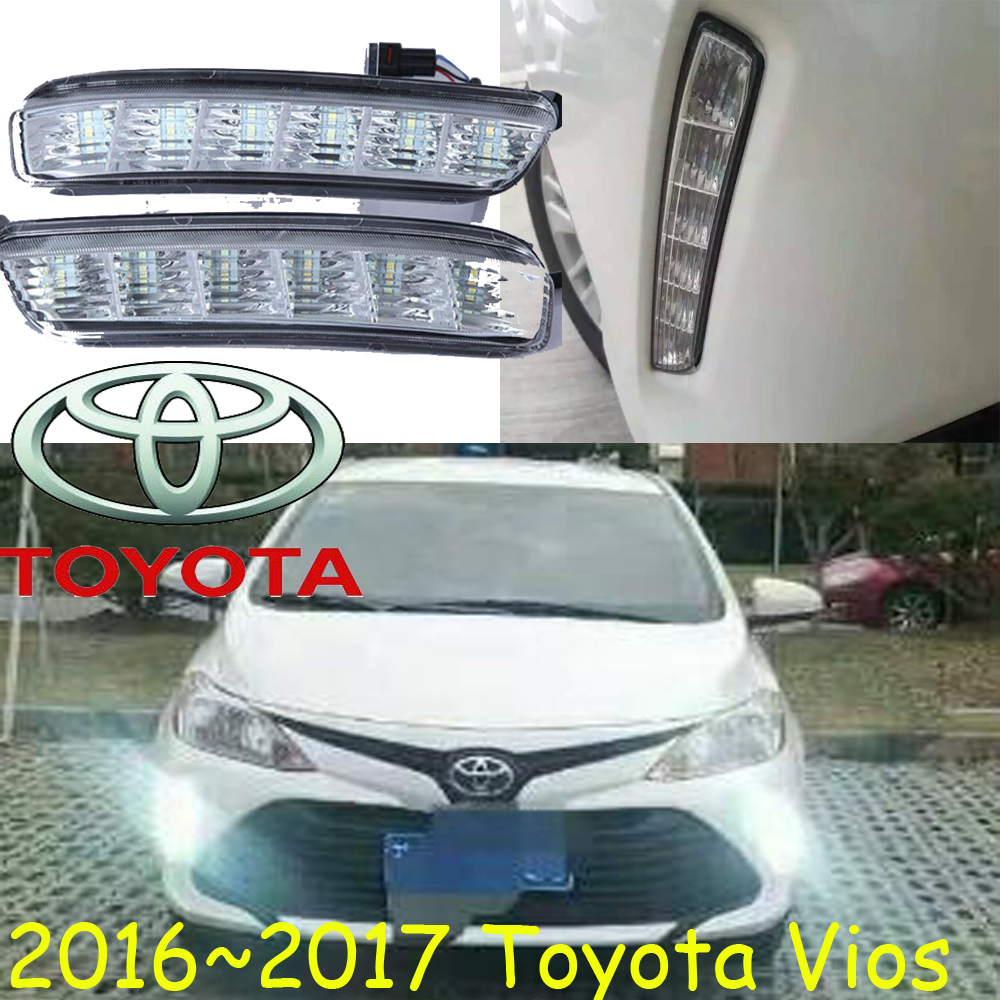 ФОТО car-styling,2016~2018 Vios daytime light,Free ship!chrome, led,2pcs/set,Vios fog light;vios headlight,car-covers,Vios