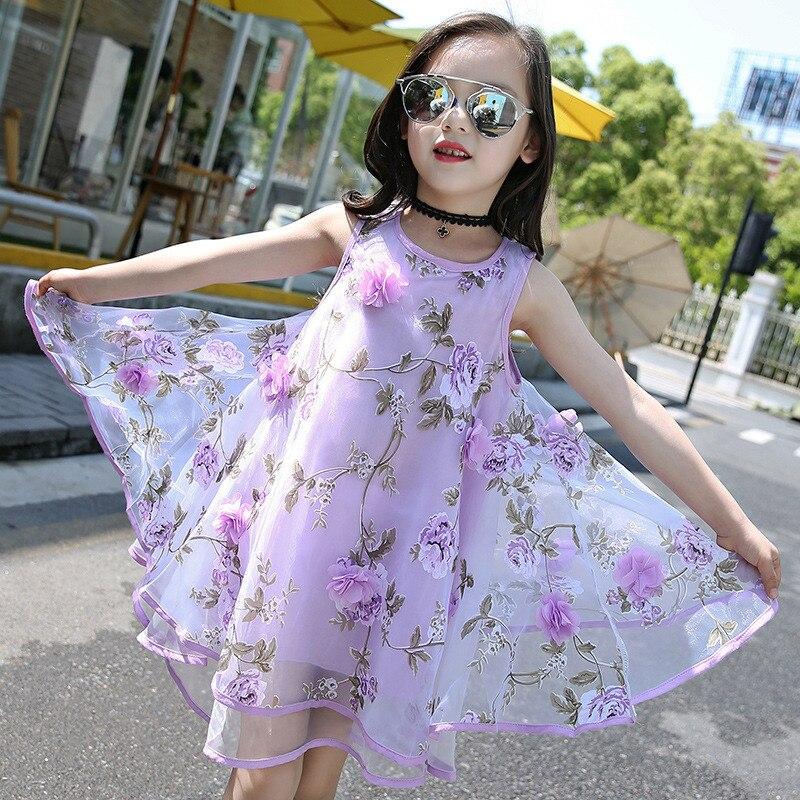 2017 Summer Style Girls Kids Fashion Flower Lace Knee High Ball Gown Sleeveless Dress Baby hawaiian dresses for girls 6-15year 6