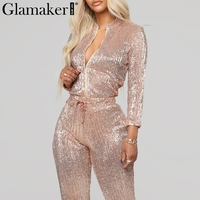 Glamaker Autumn sexy sequin christmas bodycon jumpsuit Women long sleeve full playsuit Female two piece suit jumpsuits rompers