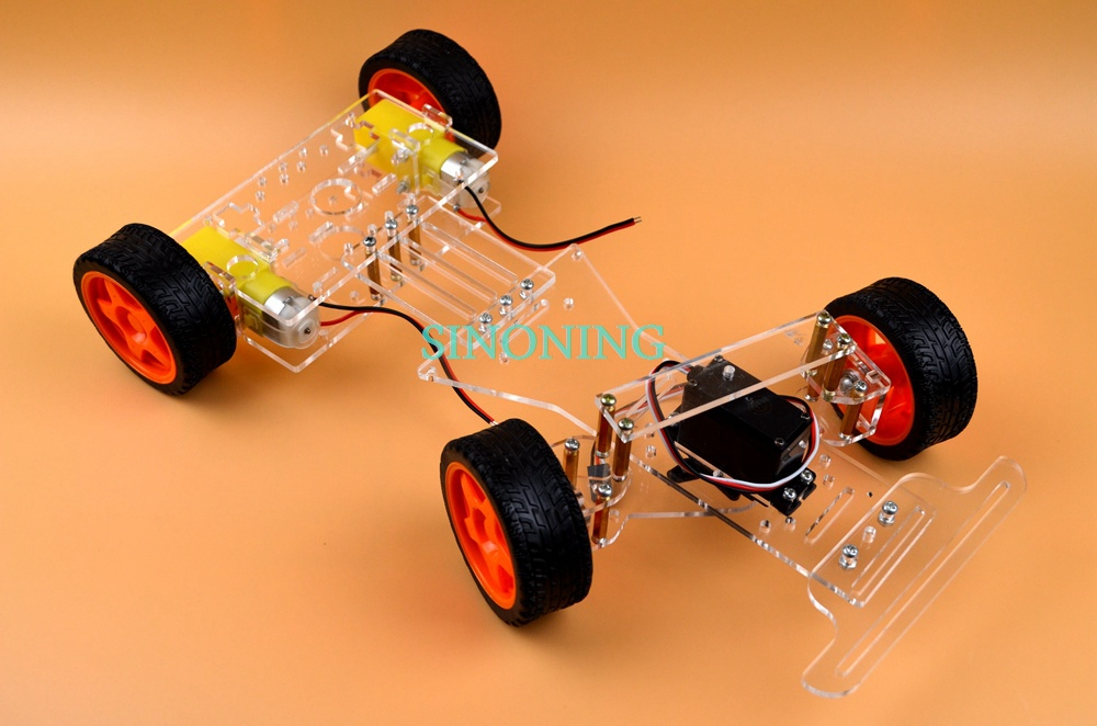 Steering engine Chassis Kit 4 wheel 2WD Motor Smart Robot Car kits DIY Arduino FUTABA 3003 - Victor Ning store