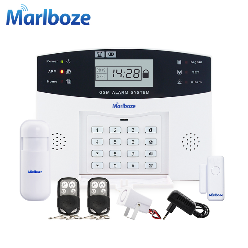 Metal Remote Control Voice Prompt Wireless door sensor Home Security GSM Alarm systems LCD Display Wired Siren Kit SIM SMS Alarm