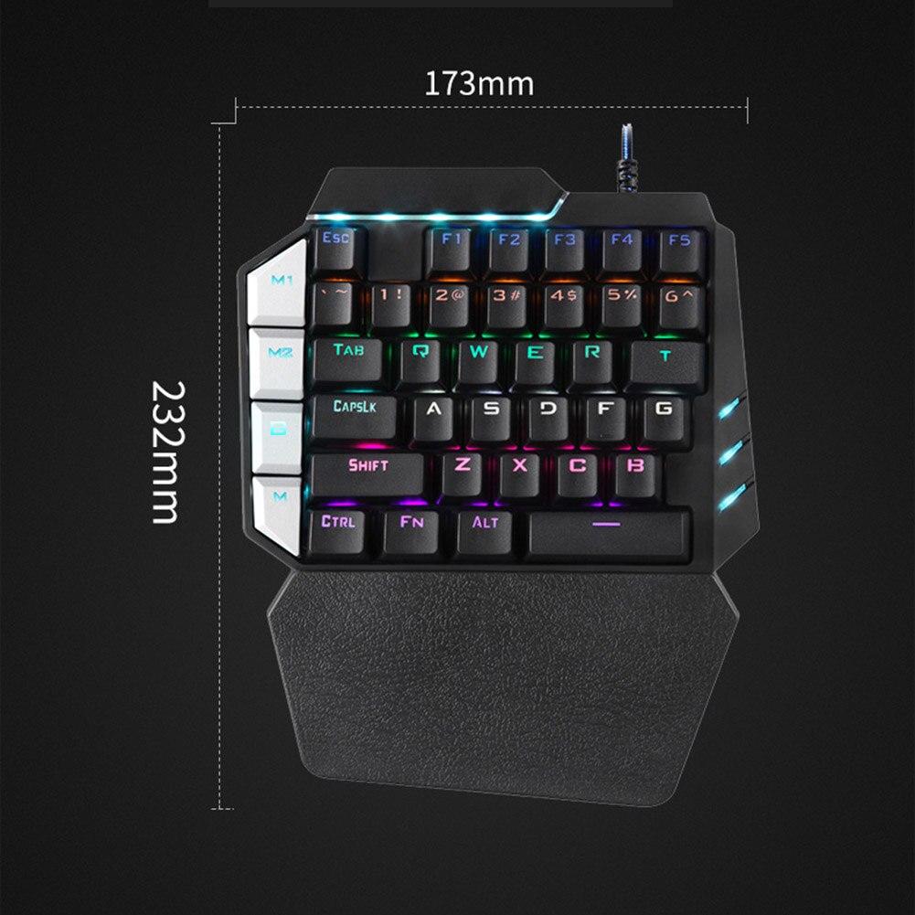 38 Keys Wired USB Mini Keyboard Rainbow Backlight One Hand Keypad For Dota OW PUBG Game HJ55