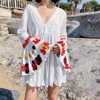 2018 Women Pleated Dress Flare Sleeve Mini Summer Clothing Black Red White Female Loose Deep V