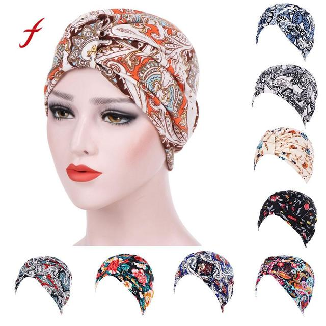 Feitong 2018 Women India Muslim Stretch Turban Hat Floral Cotton Hair Loss  Head Scarf Wrap Headwear For Cancer Patients Ladies a895322b18b