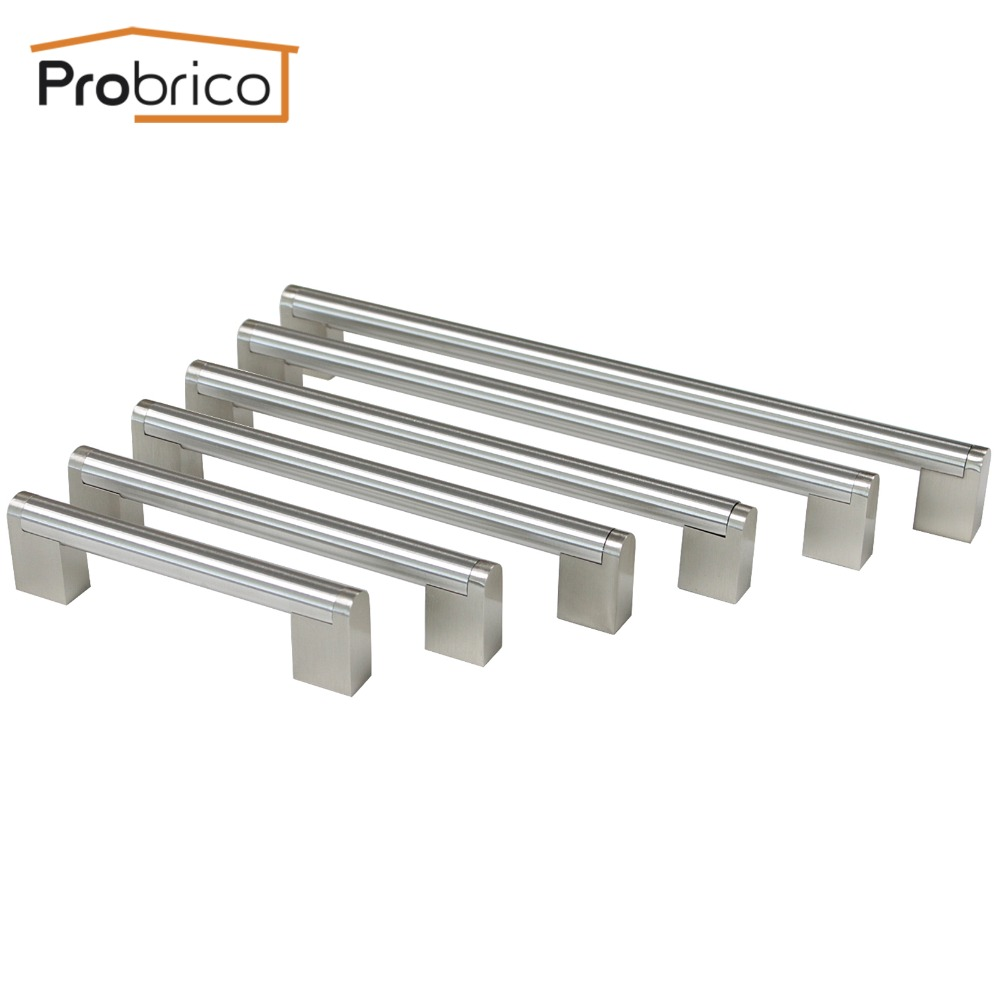 Probrico Furniture Drawer Handle Hole Center 96mm~256mm Stainless Steel Diameter 14mm Kitchen Cabinet Door Knob Cupboard Pull furniture drawer handles wardrobe door handle and knobs cabinet kitchen hardware pull gold silver long hole spacing c c 96 224mm