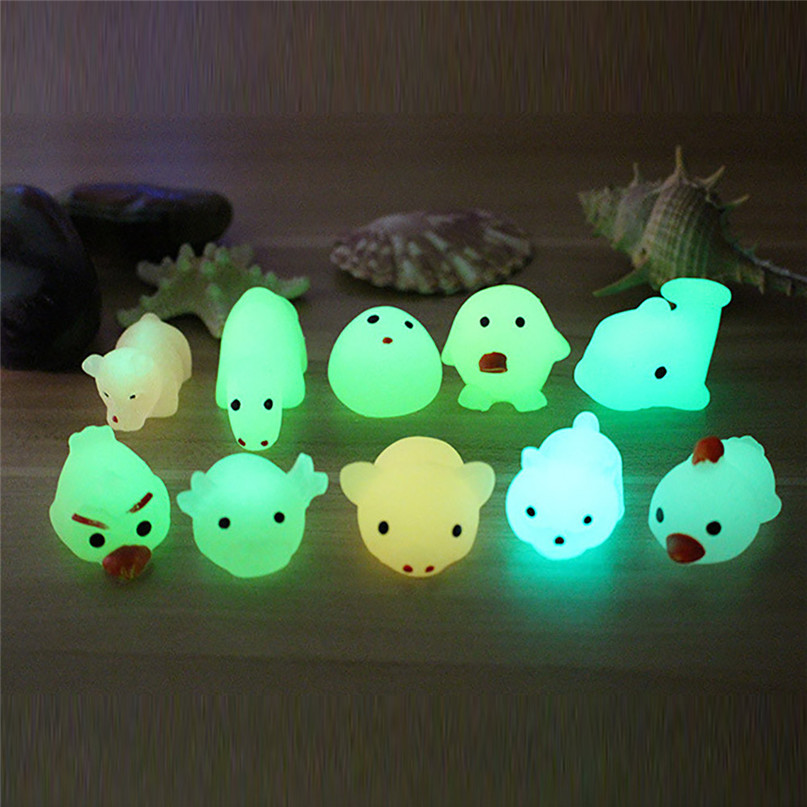 Cute Luminous Mochi Squishy Cat Squeeze Healing Fun Kids Kawaii Toy Stress Reliever Decor Toys Jouet Enfant 1PC At Random 30LY10