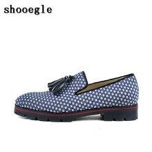 SHOOEGLE Knitting Tassel Loafers Slip-on dos homens Anti-skid Fumar Camping Sapatos Homens Se Vestem Sapatos Oxfords Homens tamanho 38-47