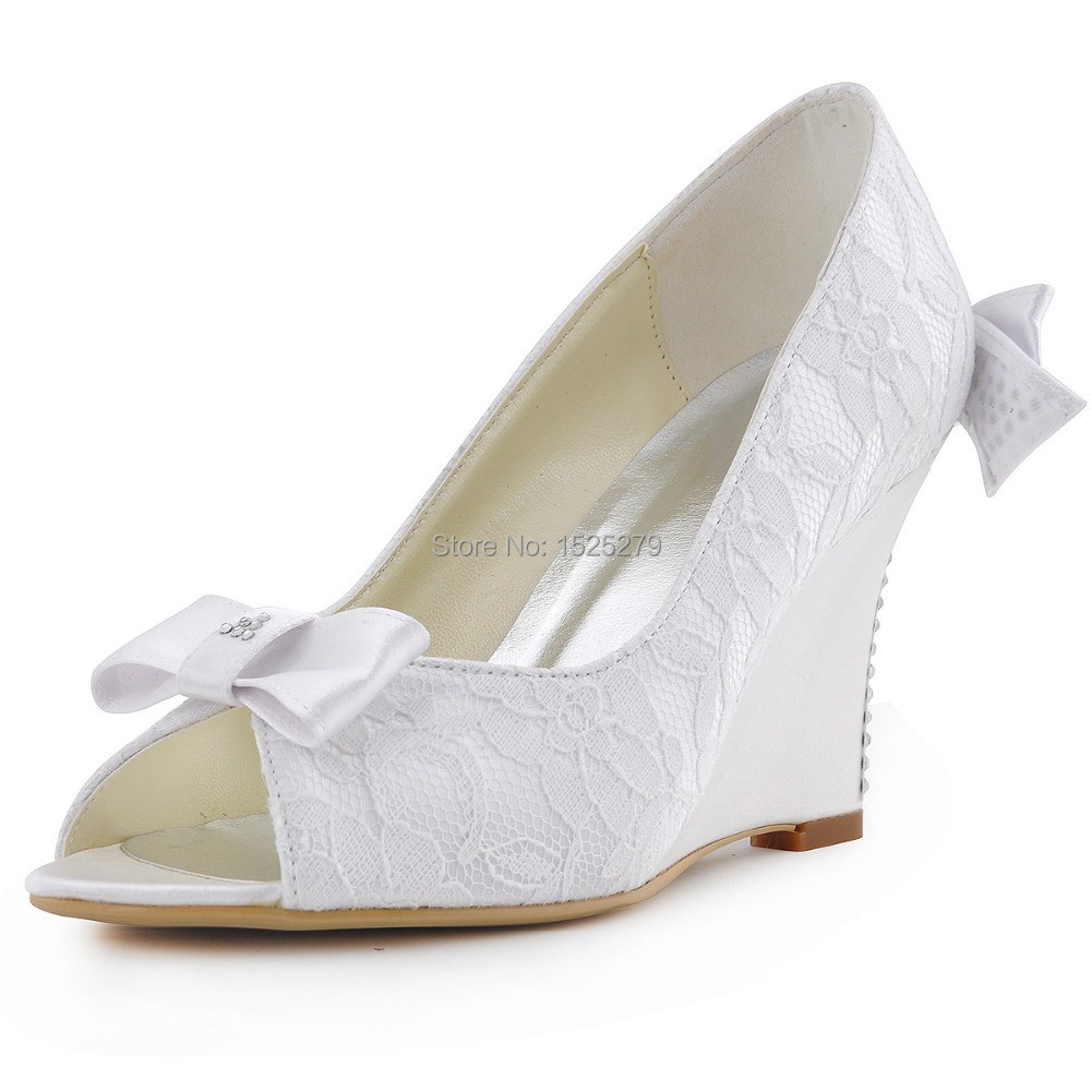 compare prices on white wedge heel bridal shoe