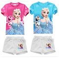 Sell lots of beautiful girl summer snow country girl suit 100% cotton short sleeve cartoon suit