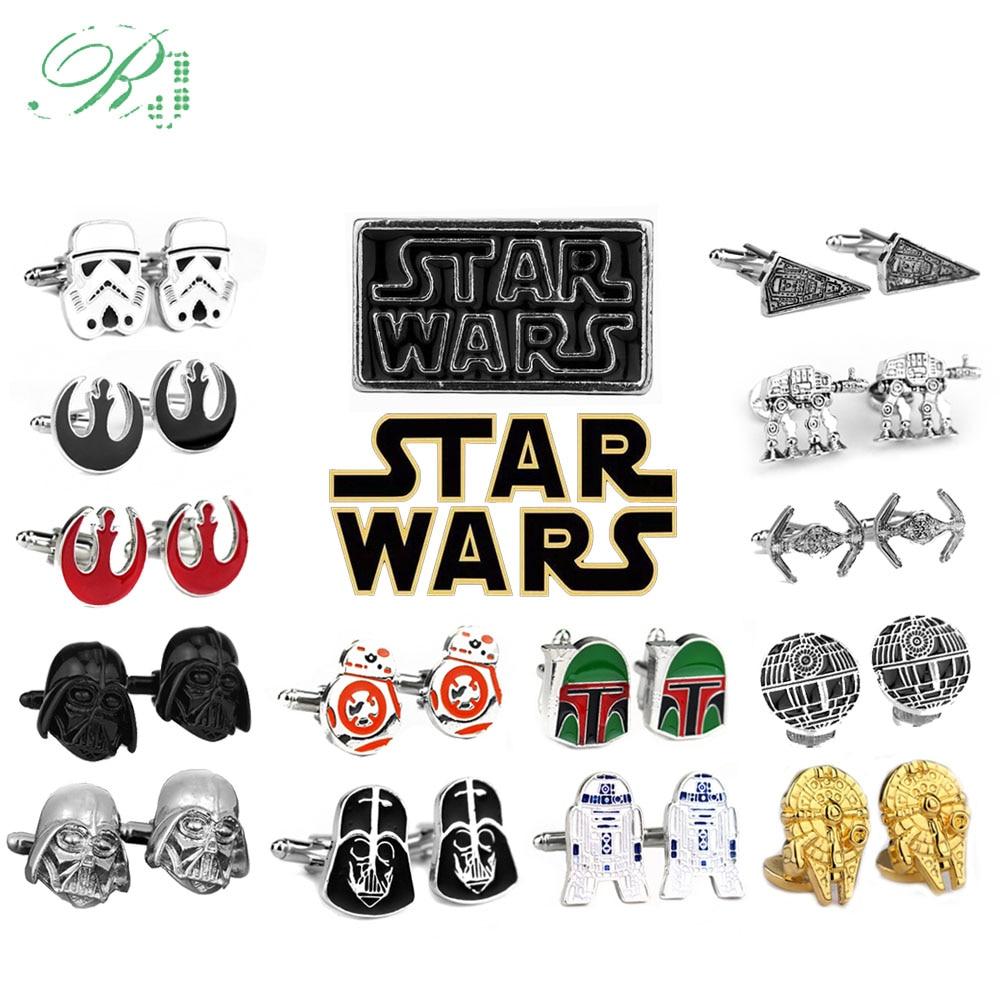 RJ Star Wars Cuff Links Buttons Falcon Darth Vader BB8 R2D2 Fighter Knight Tie Clips Avengers Batman Cufflinks Men Jewelry Gift