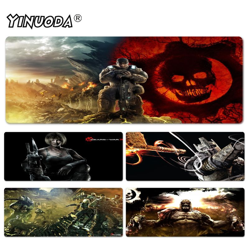 Yinuoda Beautiful Anime Gears Of War Wallpaper High Speed New Lockedge Mousepad Size for 300*600*2mm and 400*900*2mm Mousepad