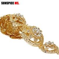 SUNSPICE MS Women Flower Metal Wedding Belt For Dress Jewelry Gold&silver Color Ctystal Waist Waist Chain Circular Alloy Buckle