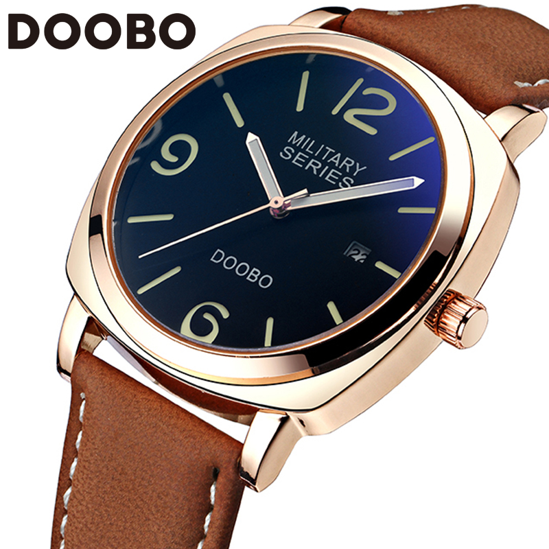 2017 Top Brand Luxury Leather Strap Men's Quartz Fashion Casual Sports Watches Men Military Wrist Watch Relogio Masculino DOOBO цена и фото