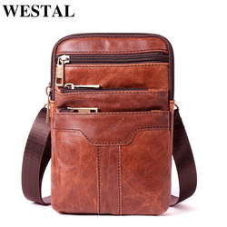 WESTAL Messenger Bag Men Shoulder Bags Genuine Leather Crossbody Bags for Men Male Flap Small Leather Bag Man Phone Pouch 8326