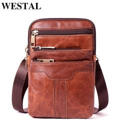 WESTAL hombres de bolso de mensajero de hombro bolsas de cuero genuino Crossbody bolsas para los hombres solapa de cuero pequeño bolso de la bolsa del teléfono 8326