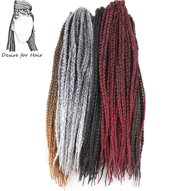 Desire for hair 10packs 14inch 65g 22strands 0.7cm thick crochet box braids synthetic hair extensions ombre black grey color