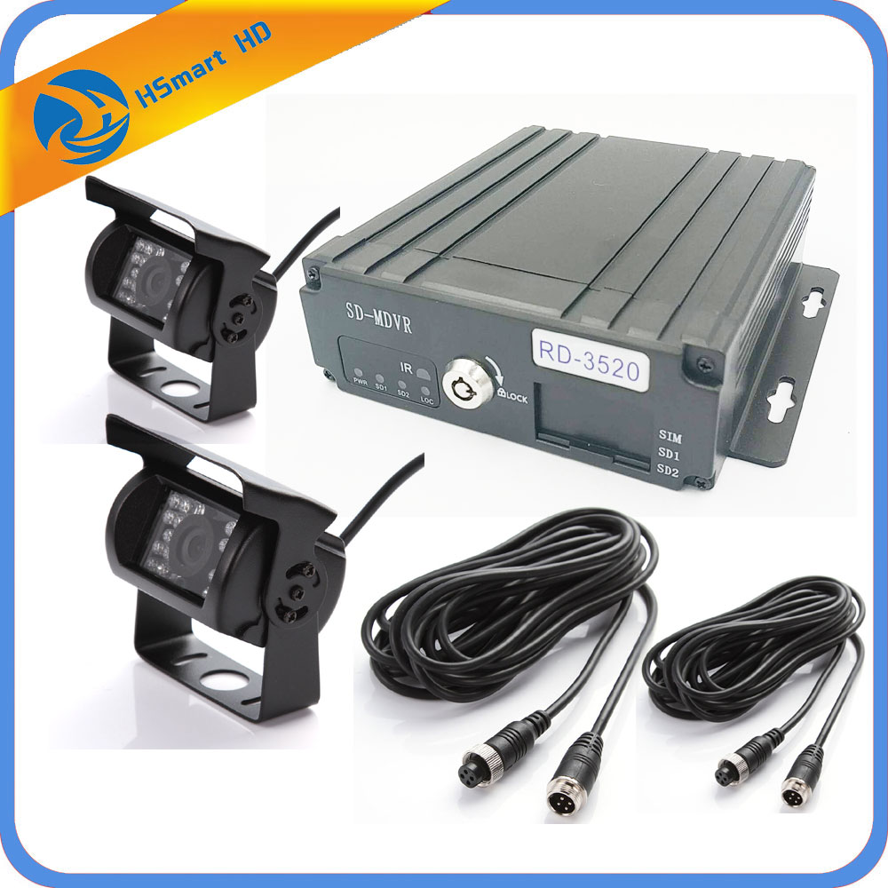 4 Channel H.264 960H 720P SD Car Vehicle Mobile DVR Surveillance System AHD MDVR 2pcs Waterproof IR mini CCTV AHD Camera System