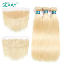 Sexay 613 Hair 3 Bundles With Frontal Pre-Colored Remy Human Hair Peruvian Straight Human Hair Weave Bundles With Lace Frontals(China)
