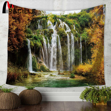 Miracille Waterfall Mountain Scenery Printing Wall Hippie Tapestry Polyester Fabric Home Decoration 130x150/150x200cm