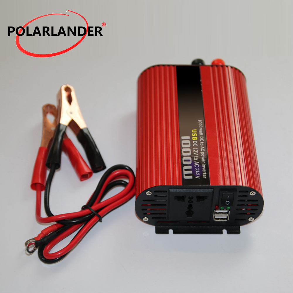 DC <font><b>12V</b></font> 24V to AC 220V 110V <font><b>1000W</b></font> Polarlander USB Portable Power <font><b>Inverter</b></font> Adapter Charger Universal Voltage Converter image