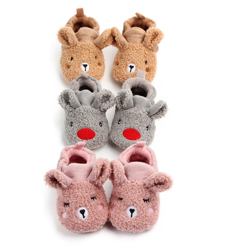Baby Girl Shoes Winter Warm Cartoon Animal Print Anti-Slip Shoes Casual Sneakers Toddler Soft Soled First Walkers