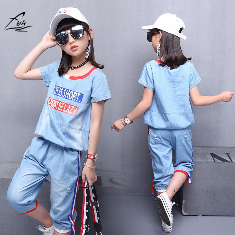 Roupas infantis Meninas Define Meninas Outfits Conjuntos de Roupas Meninas Denim Jeans Verão T-shirt + Calças Carta Meninas Algodão 2 pcs