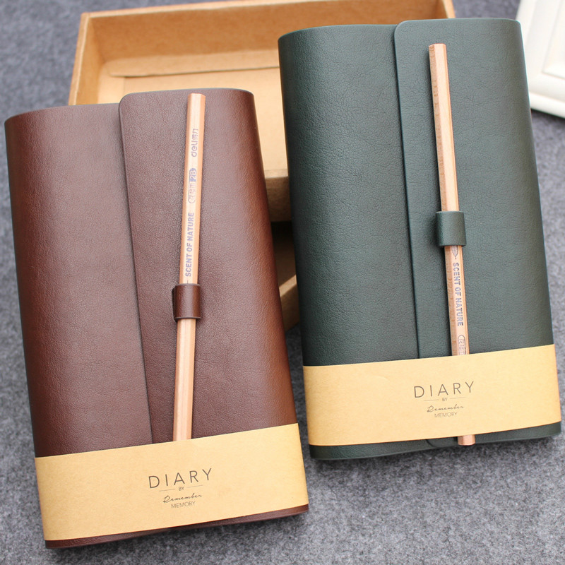 2pcs/lot Creative Travel Business Diary PU Leather Cover Planner Notebook Diary Book Notepad Gift Stationery Escolar Memory high quality pu cover a5 notebook journal buckle loose leaf planner diary business buckle notebook business office school gift