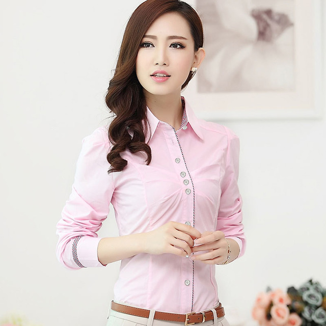 Formal Women Shirts Long Sleeve Work Fashion Ladies Pink Blouses ...
