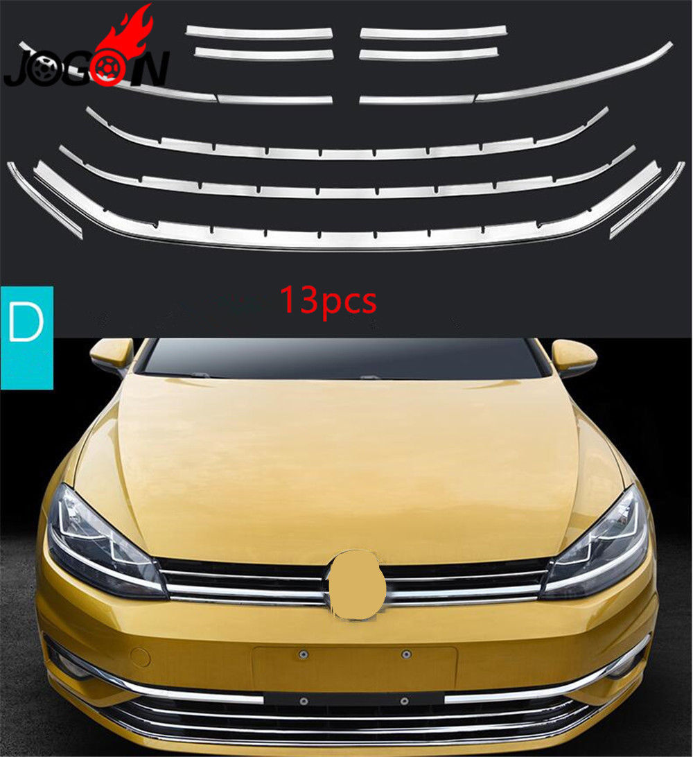 Car Front Bumper Mesh Grille Grill Cover Strips For VW GOLF 7.5 MK7.5 TDI Facelift 2018 abs chrome front bottom bumper cover trims grille strips car engine protection for toyota corolla 2017 2018 facelift accessories