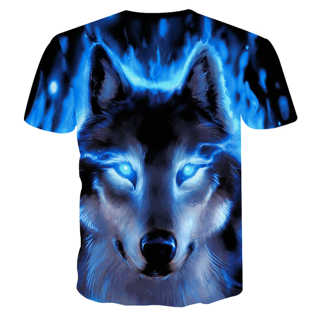 Novelty 3D men wolf t-shirt Cool wolf Printed t shirts summer 3D Short Sleeve Glow in the Dark T-shirts good quality 1