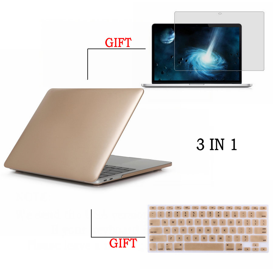 Macbook Air 13 Pro Retina Us 13 27 Laptop Case Gold Matte Case Keyboard Cover Sreen Film 3in1 For Macbook Air 13 11 Retina 13 Pro 13 With Touch Bar Without Logo In Laptop