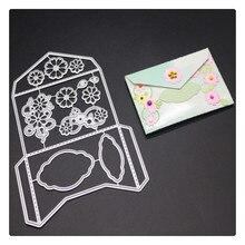 YINISE цветы конверт металлические Вырубные штампы для трафареты для скрапбукинга карточки-украшения для альбомов папка для тиснения вырубки