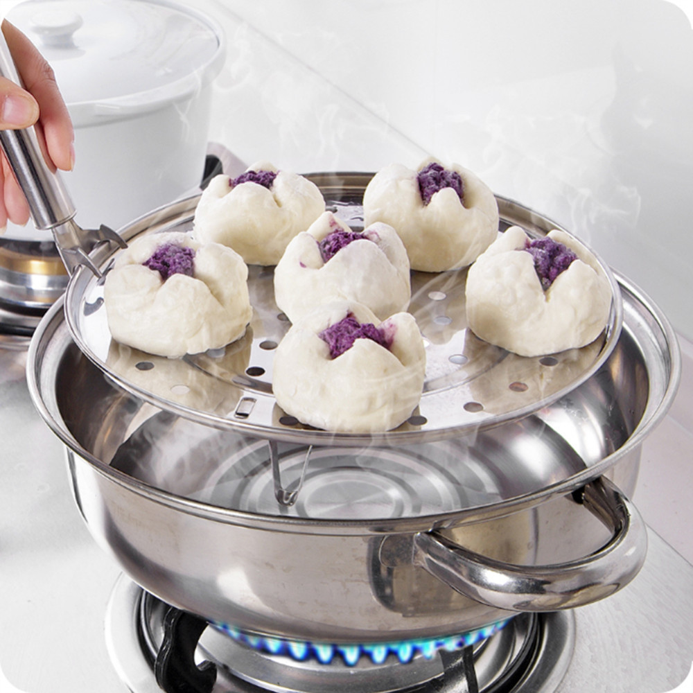 1Pc Durable Stainless Steel Round Steamer Rack Insert Stock Pot Steaming Tray Stand Kitchen Cookware Tools 20/22/24/26cm